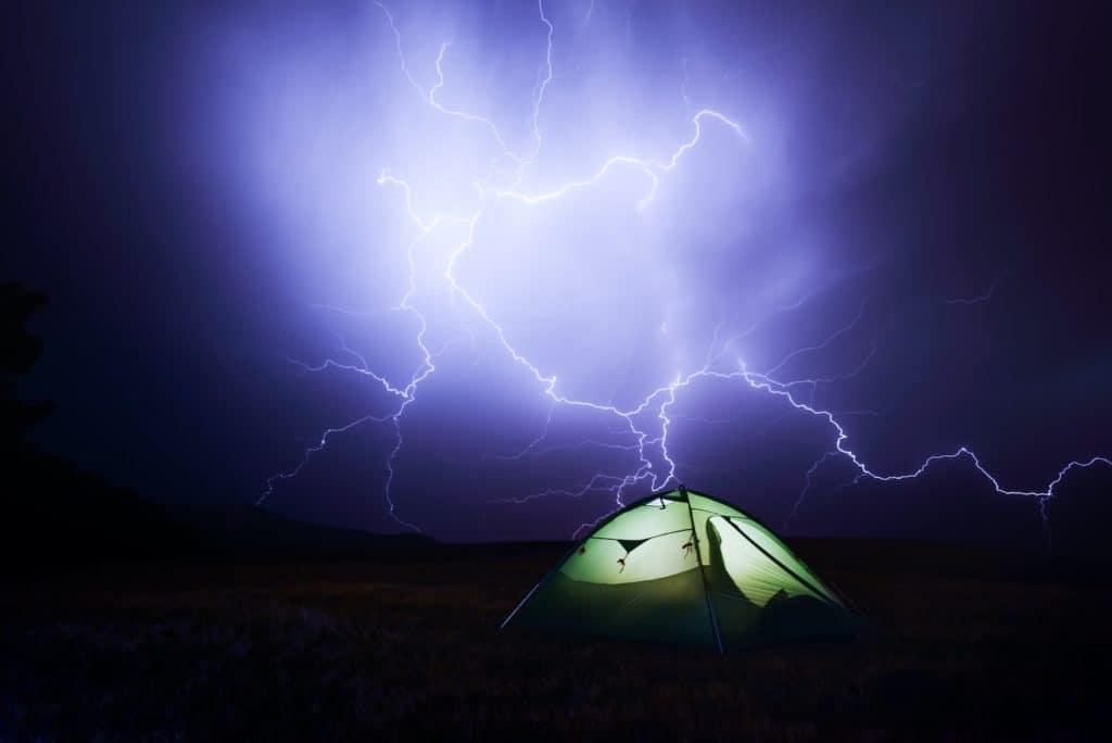 Lightning while camping